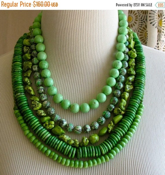 5day Mothers Day 20% SALE Chunky Bright Green Layered Multi Strand Beaded New Grass Stament Necklace