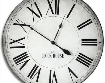 Large Wall Clock 36in CAMBRIDGE Linen-Hand painted-Farm House-Family Heirloom-Wedding-FREE Inscription