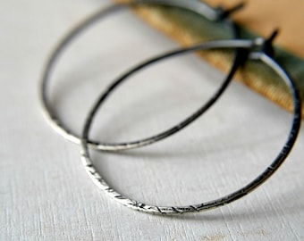 Sterling silver hoop earrings, textured sterling silver hoops with ombre patina