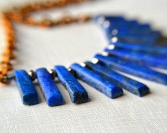 Lapis Lazuli necklace, gemstone necklace, spike necklace with brass chain, bib style necklace
