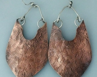 Large Copper and Sterling Silver Earrings, Mixed Metal Earrings, Embossed Copper