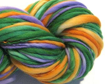 Bulky Handspun Yarn Secondaries 112 yards hand dyed merino green orange purple yarn waldorf doll hair knitting supplies crochet supplies