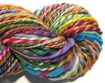 Handspun Yarn Waste Not Want Not D 126 yards bulky rainbow yarn knitting supplies crochet supplies waldorf doll hair