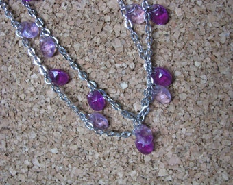 Sarah Coventry vintage Lilac Time silver and purple double necklace