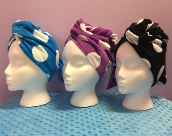 Personalized Hair Turban With Polka Dots Made Just For You With Your Monogram