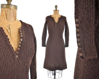 70s brown nubby sweater dress / knit button dress / 1970s ribbed henley sweater dress Made in Italy .. xs