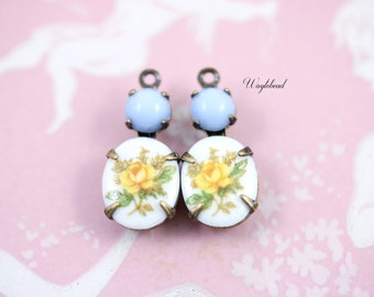 Yellow & Baby Blue Set Stones Earring Drops Vintage Oval Flower Stones 1 Ring Antique Brass Prong Settings 18x8mm Swarovski Crystal  - 2