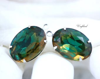 Vintage Oval Stones 1 Ring Closed Back Sterling Silver Plated Settings Emerald and Topaz 18x13mm - 2