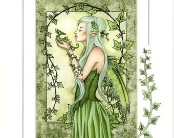 Hand Accented Ivy Fairy PRINT 5x7 matted 8x10 by Amy Brown