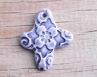 Handmade clay abstract cross pendant. Polymer clay cross.Polymer clay pendant. Clay pendant.