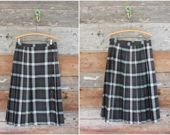 pleated plaid skirt | grey & black tartan kilt with pin and leather strap | waist 28-30""