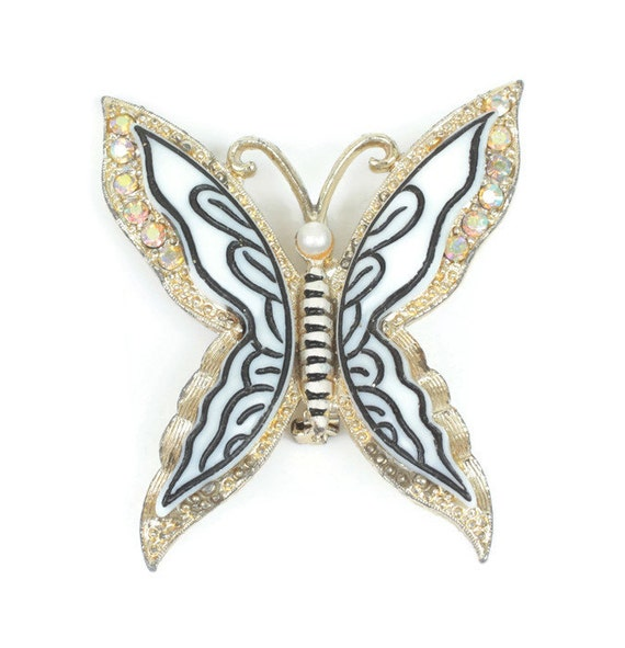 Layered Butterfly Brooch AB Rhinestones Lucite Simulated Pearl Vintage