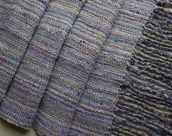 """Handwoven Hand-dyed Wrap/Shawl with Twisted Fringe, Lavender Mist - 88""""x14.5"""""""