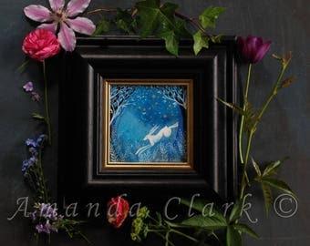 Framed original painting.  Titled 'Cobalt Sky' by Amanda Clark.