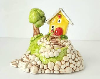 Little House on a Hill | Yellow House | House on a hill | Yellow cottage | Terrarium Decoration | Shelf Decoration | House Sculpture
