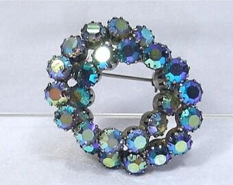 20% Sale Jewelry Beautiful Vintage Brooch Pin Circle Double Rhinestones Blue AB Aurora Borealis Unsigned