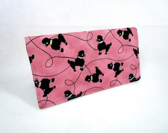 Poodles Handmade Fabric Checkbook Cover / Washable