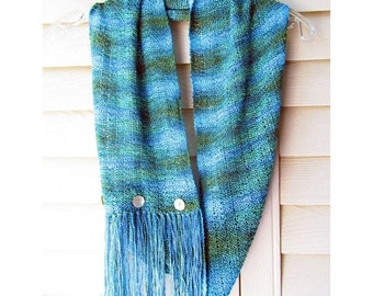 HOLIDAY SALE - Infinity Scarf, Long Cowl, Rayon, Hand Knit, Turquoise, Teal, Moss Green, Fringed BoHo, Shell Buttons