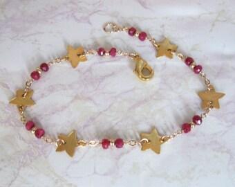 Ruby Star Bracelet- Gold Filled