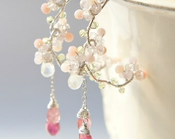 Cherry Blossoms Pink Tourmaline  Earrings, Wedding Earrings, Japanese Jewelry, Nature Inspired