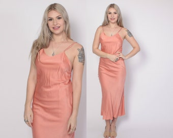 Vintage 40s SILK SLIP DRESS / Vintage 1940s Hand Dyed Dusty Coral Bias Cut Maxi Gown