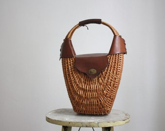 oxblood & straw bag