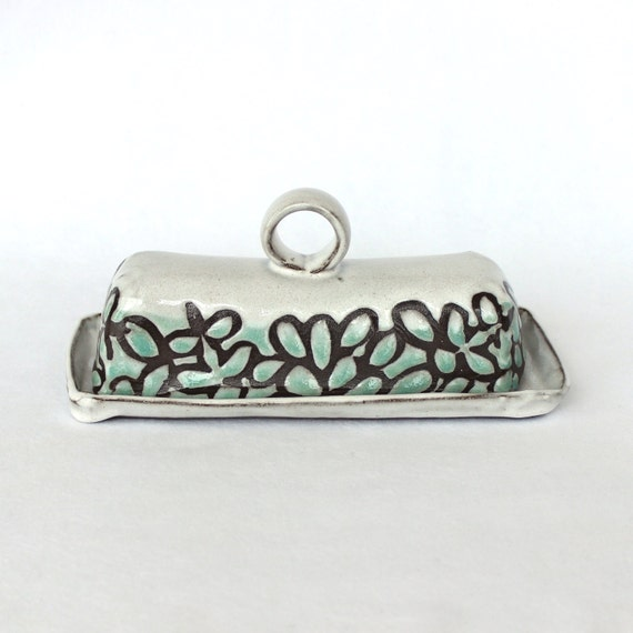 Butter Dish with a Handle , White and Light Green