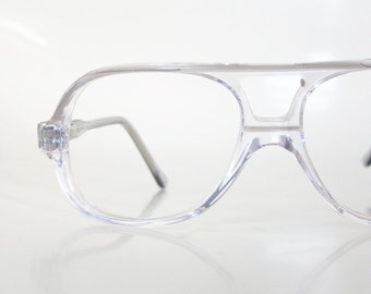 Childrens Aviator Clear Vintage 1980s Childs Glasses Eyeglasses Grey Charcoal 80s Hipster Girls Boys Geek Chic Nerdy Eighties Deadstock NOS