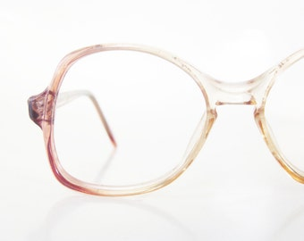 Childrens 1970s Boxy Retro Eyeglasses Girls Boys Kids Glasses Optical Frames Dark Mauve Pink Clear Indie Hipster 70s Seventies Deadstock