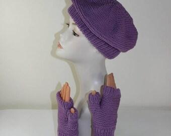 50% OFF SALE madmonkeyknits - Garter Stitch Beret and Fingerless Gloves knitting pattern pdf download - Instant Digital File