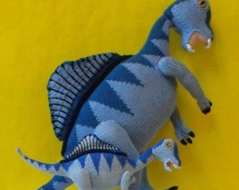 50% OFF SALE Digital file pdf download Knitting Pattern Only- Spencer Spinosaurus and Baby dinosaur pdf download knitting pattern