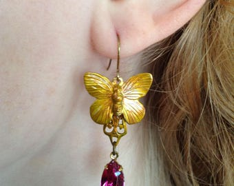 Earrings Pink German Glass And Patina Brass Butterfly Dangles