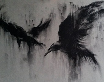 """Flying Ravens Original Charcoal Drawing Black and White Art Two Crows 12x8"""""""