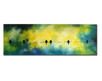 """Original Birds on a Wire Abstract Painting Modern Green Blue Turquoise Yellow Art 8x24"""""""