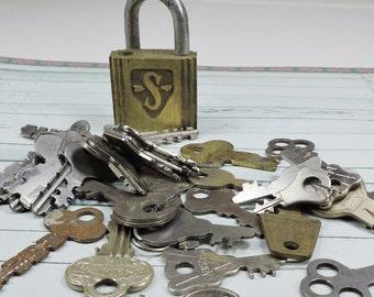 Vintage Lock and Keys- Reuse- Repurpose- Altered Art