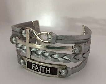 Sideways cross infinity faith bracelet Cross jewelry Christian jewelry Religious jewelry Confirmation gift Friendship bracelet Inspirational