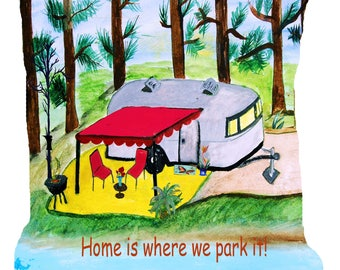 Air stream retro camper on the lake double sided art throw or body pillow case from my art