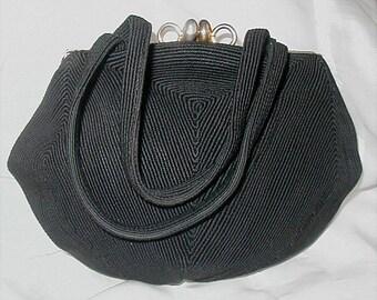 Vintage Black Cord Purse