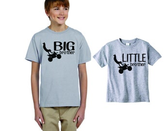 brother set, dirt bike, Sibling Gifts, Custom 2 shirts for big, bigger, biggest, baby, Little, Brother or Sister, custom motorcycle design