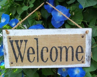 WELCOME, cottage chic, rustic, hanging wall sign, guest greeting