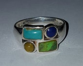 RESERVED FOR TIM Vintage Sterling Silver Turquoise, Lapis, and Tigers Eye Ring Size 9.5 ~ Unisex