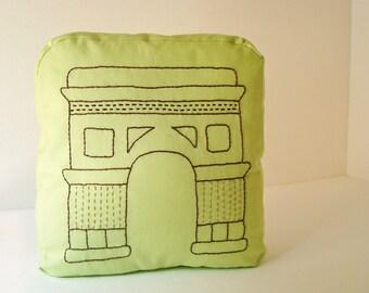 Paris throw pillow, Arc de Triomphe shaped pillow, travel pillow, hand embroidered