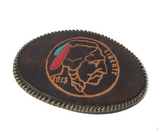 Vintage Leather Liberty Native American Head 1913 Belt Buckle