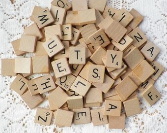 Vintage Wood / Wooden Scrabble Tiles from 1948 Game, Complete Set but Missing One Letter T for Repurpose, Recycle, Craft, Free US Shipping