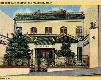 Vintage California Postcard - Nam Kue Chinese School in Chinatown, San Francisco (Unused)