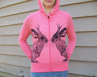 Kissing Jackalope hoodie zip sweatshirt - eco-friendly black ink screenprint on warm fleece-lined coral pink cotton mix - Ladies size XS 0-2