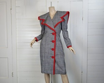 80s Does 40s Dress in Black, White, & Red- Houndstooth Check- Huge Shoulders- Small- 1980s- Long Sleeve