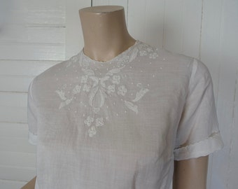 40s / 50s White Cotton Blouse- Embroidered & Sheer- Small- 1950s