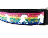 Dog Collar, Rainbow Unicorn, 1 inch wide, adjustable, quick release, metal buckle, chain, martingale, hybrid, nylon