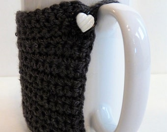 Crochet Mug Cozy in Grey with Heart Button, For Coffee Lovers and Tea Drinkers